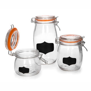 Alberto 3 Pieces Glass Jars With Clamp