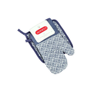 Alberto 2 Pieces Set Oven Glove + Mitten Squares Design