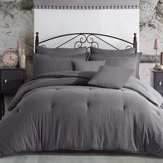 Comforter Set 5 Pcs Jaquard Stripes King Size