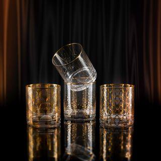 La Mesa 4 Pieces Glass Tumbler Dof, Gold Decal