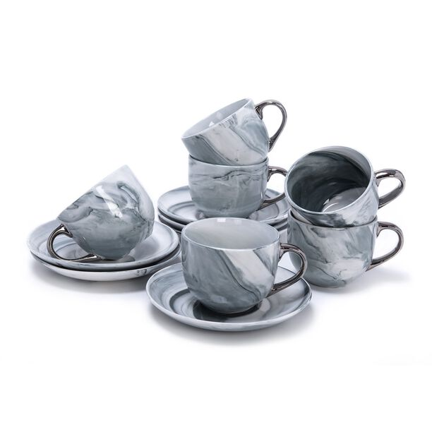 La Mesa Marble With Silver Coffee Set 12 Pieces  image number 1