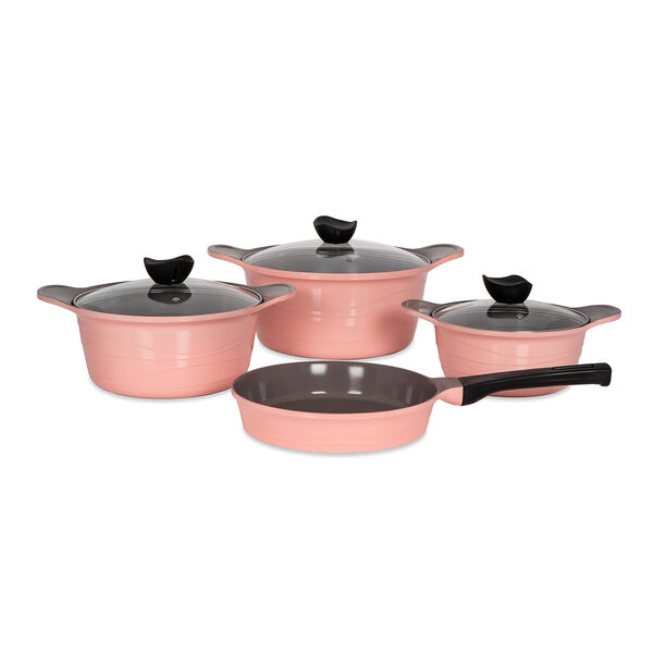 7Pcs Cast Aluminum Cookware Set with Glass Lid New Model image number 0