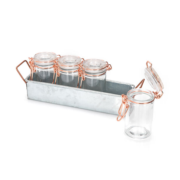طقم برطمانات زجاج 4 قطع بغطاء نحاسي وحامل معدني من البرتو image number 1
