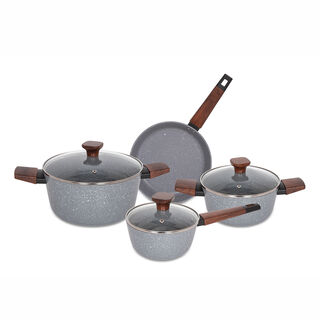 Alberto 7Pcs Non Stick Grey Cookware Set