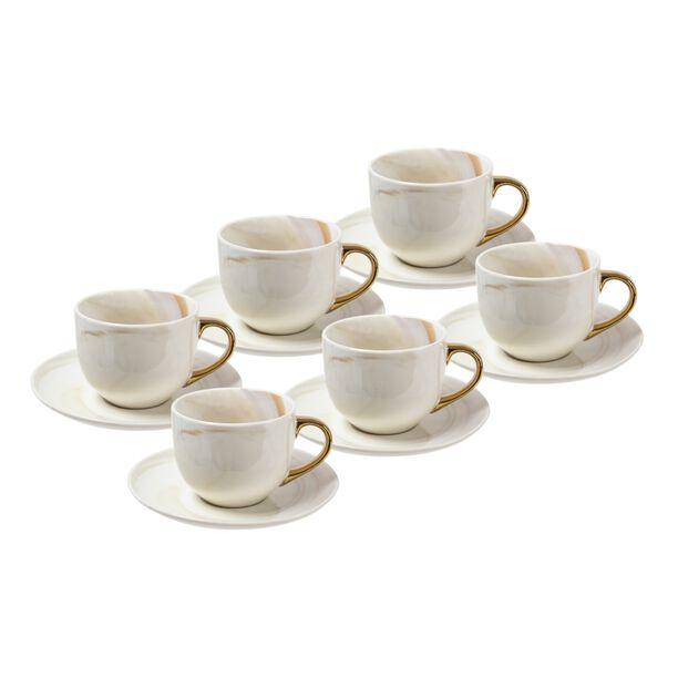 طقم أكواب شاي مع صحون 12 قطعة رخام ذهبي من لاميسا image number 0