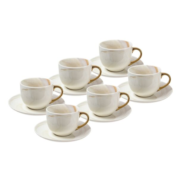 La Mesa Marble Tea Cup & Saucer Set 12 Pieces Gold image number 0