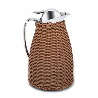 Dallaty Stainless Steel Vacuum Flask Rattan With Design Of Bamboo Light Brown 1L