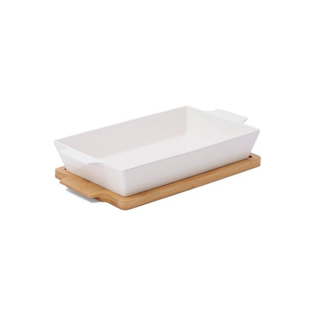 La Mesa Oven/Serving Rectangle Plate With Bamboo image number 1