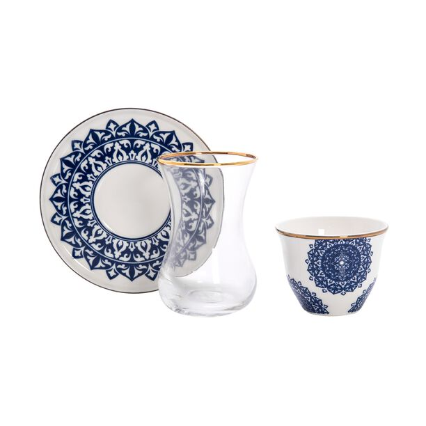 طقم شاي وقهوة عربي 18 قطعة لون كحلي من لاميسا image number 1