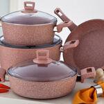 Alberto Granite Series 7Pcs Cookware Set Pink Stone image number 1