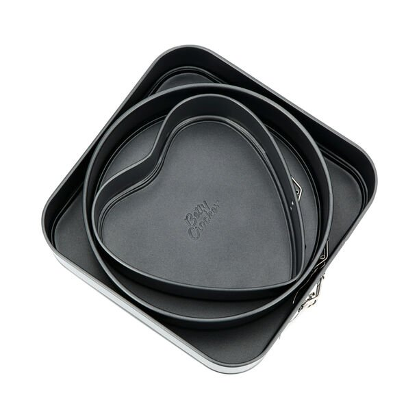 Vanilla Nonstick 3 Pieces Baking Pans Heart + Round + Square image number 1