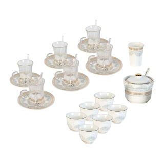 Tea And Coffee Set 28 Pieces Porcelain Silver And Gold
