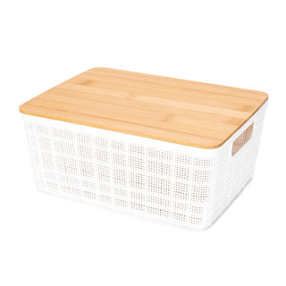 Plastic Storage Basket With Bamboo Lid 4L