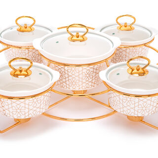 5 Pcs Round Food Warmer With Stand