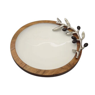 Wooden Round Dish With Olive Decoration Medium ( Single Decoraction ) 19Cm