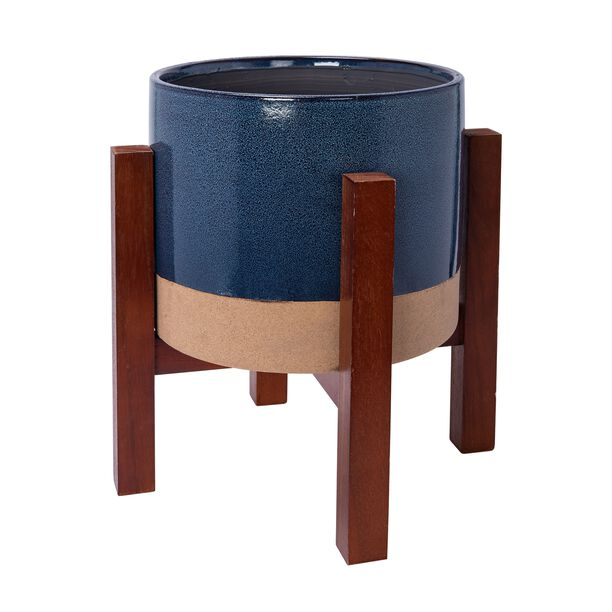 "Ceramic Blue Planter With Stand 11.5"" image number 0"