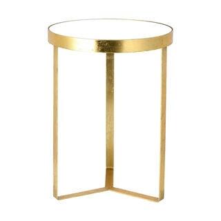 طاولة جانبية دائرية الشكل من المعدن لون ذهبي