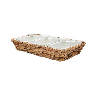 Porcelain 3Pcs Rectangular Casseroles With Lid And Rattan Basket