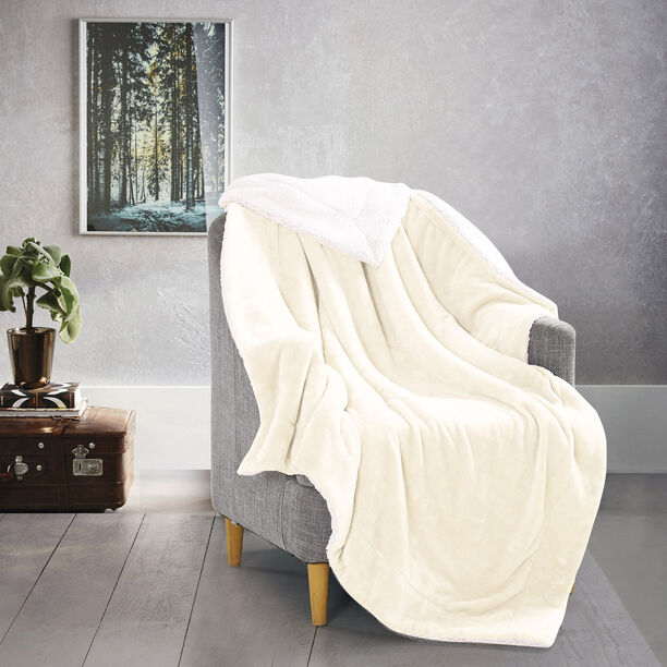 Cottage Flannel Sherpa Throw White image number 0