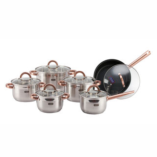Alberto Stainless Steel Cookware Set 12 Pieces Copper Handle
