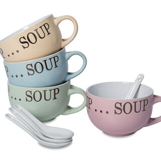 Soup Mugs Set 4Pcs Mix Colors