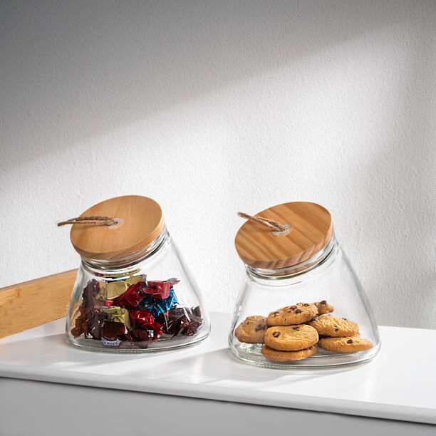 Alberto Leaning Glass Jar With Wooden Lid 1600Ml image number 0