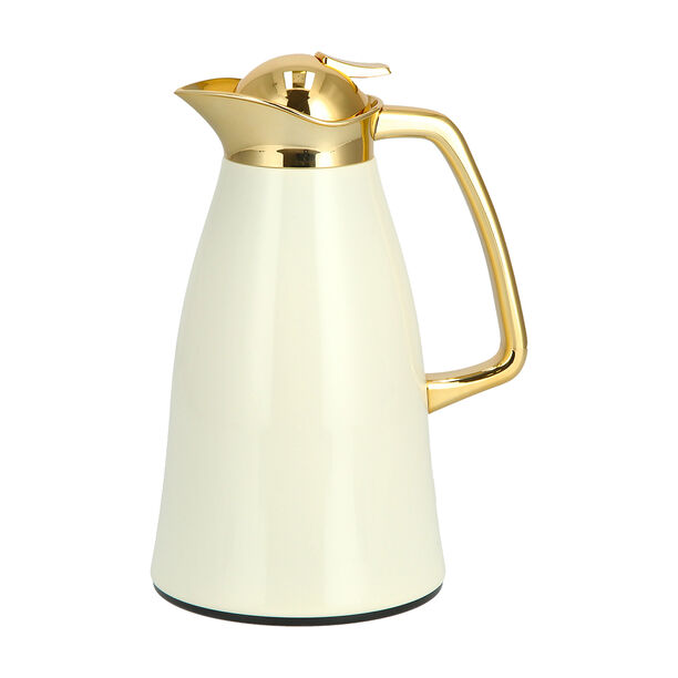 Vacuum Flask Chrome And Beige 1L image number 0
