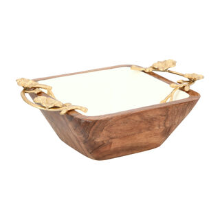 La Mesa 1 Piece Wood Square Nuts Bowl Metal Floral Gold