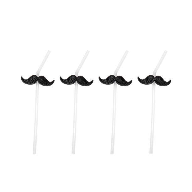 4 Pieces Plastic Straws With Black Mustache image number 0