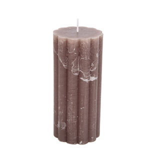 Pillar Candle Rustic, Ridge Light Brown Sandal