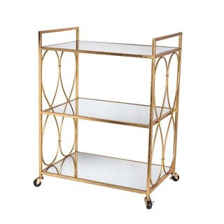 Serving Trolley Metal And Glass Gold