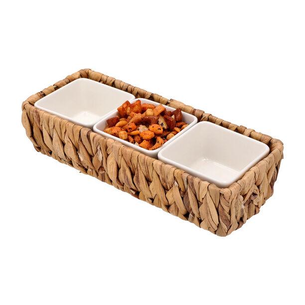 3Pcs Porcelain Square Dish With Rattan Basket image number 2