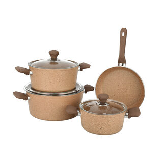 7 Pcs Granite Cookware Set Brown