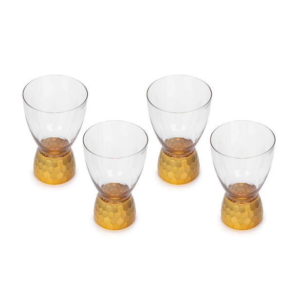 4 Pcs Glass Footed Tumbler With Cutting And Luster Gold image number 1