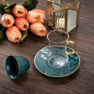 Arabic Tea and Coffee Set 18Pc Porcelain Mattglow Green