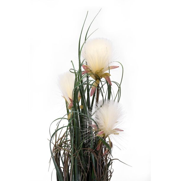 Artificial Plant Dandelion X3 With Pot White Polyester And Iron Wire  image number 1