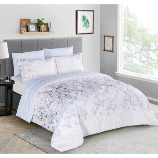 Cottage Comforter Set 4 Pieces Single Size Beige/Blue