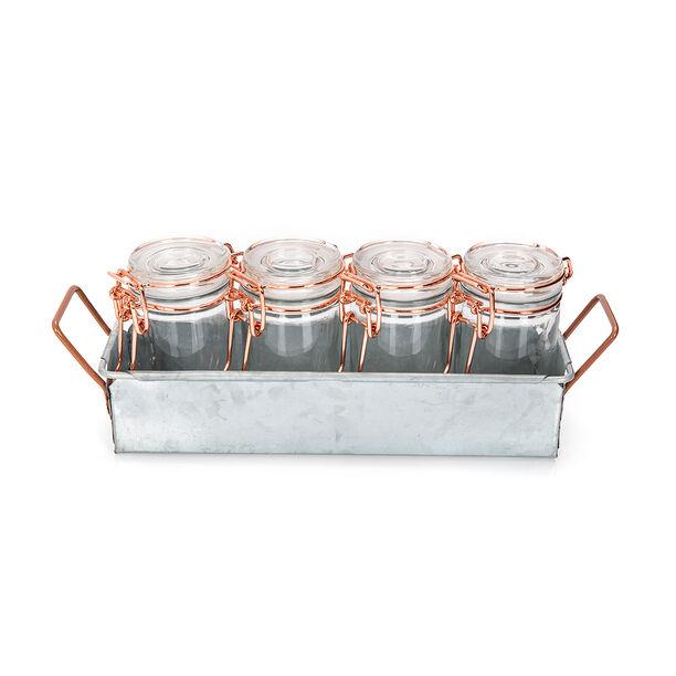 طقم برطمانات زجاج 4 قطع بغطاء نحاسي وحامل معدني من البرتو image number 0
