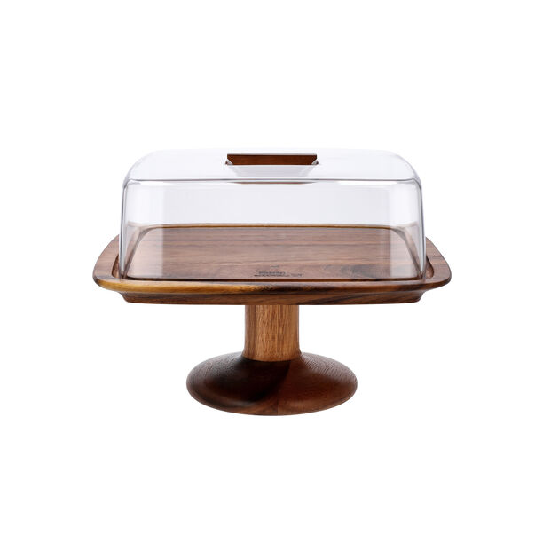 Billi Acacia Wood Cake Dome With Stand L: 29.5O * 29.50Cm* 21Cm image number 1