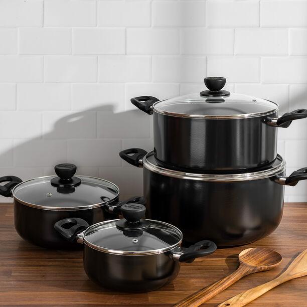 Alberto Nonstick Cookware Set W/Glass Lid 8Pcs Set Black Color (18/22/26/30Cm) image number 2