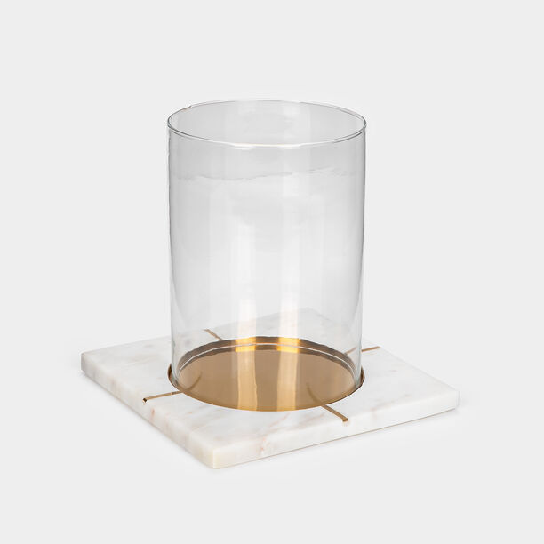 Candle Holder White Marble Gold Inlay image number 0
