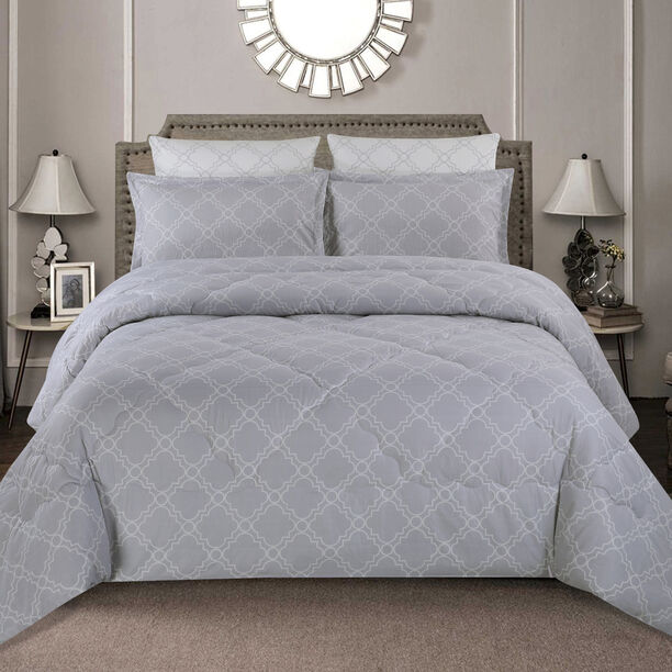 Cottage 3 Pieces Comforter Set Twin Size Beykoz Gray image number 0