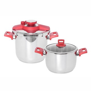 Alberto Pressure Cookers Set With Red Handles