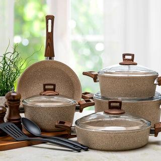Alberto Granite 9Pcs Cookware Brownstone Color