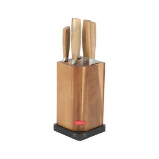 طقم سكاكين 5 قطع بحامل خشبي مع مسن من البرتو
