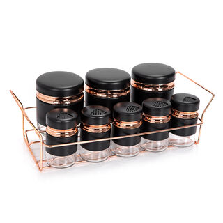 Alberto Spice Rack With8 Glass Jars With Stand Black & Rose Gold