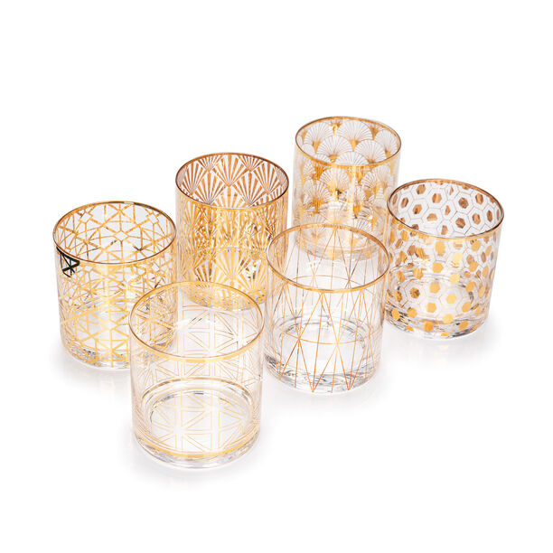 6 Pcs Glass Tumbler Set With Gold Decal Clear image number 1