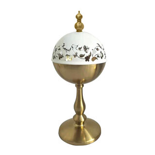 Marble and Metal Oud Burner Majestic Gold With Cover
