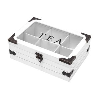 صندوق شاي خشب و زجاج 6 اقسام