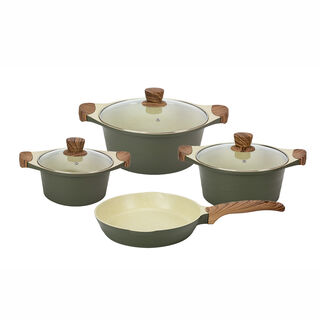 Alberto London 7 Pieces Ceramic Cookware Set Olive